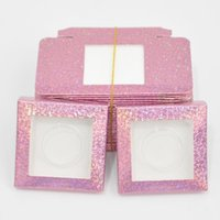 False Eyelashes Wholesale Eyelash Packaging Box Lash Boxes Package Custom Glitter Rose Red Square Paper Mink Lashes Makeup Case Bulk Vendors
