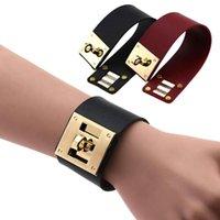 Moda punk goth largo cor de ouro cor de ouro pulseiras pulseiras para mulheres homens punhos bracele pulseira