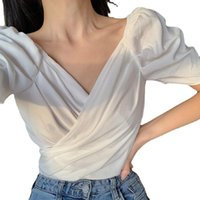 Women's Blouses & Shirts Fashion V-neck White Patchwork Womens Tops And 2021 Summer Casual Office Women Tee Shirt Top Chemise Femme Blouse