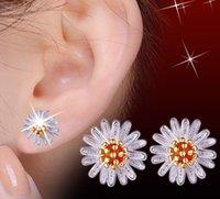 Fashion Daisy Sun Flower Stud Earrings S925 Sterling Silver Cute Pretty Charm Earring Women Girls Jewelry Gift