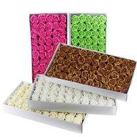 50pcs / boîte 5cm DIY Savon Fleurs Cadeaux Roses artificielles de haute qualité de haute qualité pour la décoration de la maison de mariage 210706