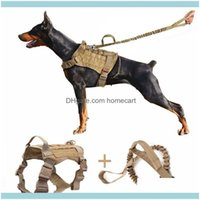 Collars Leashes Pet Supplies Home & Gardentactical Harness Sets For Large Service Dog Adjustable Handle Hunting Molle K9 Vest With Bungee Le
