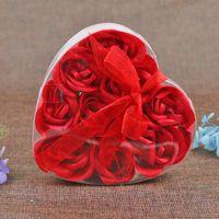 9 шт. Ароматизированная роза цветок лепесток букет день Святого Валентина день в форме сердца подарочная коробка ванна для тела мыль для тела свадьба одолжение 9ocs / lot 1297 v2
