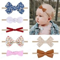 Baby Headbands Bow Nylon Elastic Headband Children Hair Accessories Newborn Floral Hairbands Girls Solid Headwear for toddler 10pcs set