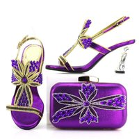Maravillosas bombas de vemón púrpura que coinciden con el rhinestone para los zapatos africanos y el vestido de bolsa V7438