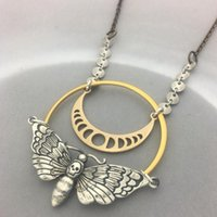 Moon Phase Skull Moth Butterfly Pendant Necklace Fashion Gold Insect Party Jewelry Statement Necklacesf For Women Necklaces