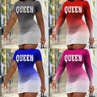 Regina Womens Sexy Dresses Gradient Color Stampa personalizzata Vestito corto / manica lunga per ragazze Miniskirt Party Nigh Club Wear G4TE6HJ