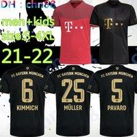 Tamanho: S-4XL 21 22 22 FC Bayern Munich Lewandowski Goretzka Away Black Soccer Jersey Sane Coman Muller Davies 2021 2022 HumanRace Maillot de Football Shirt Men + Kids Kit