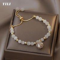 Beaded, Strands 2021 Fashion Luxury Opals Beads Bracelet Adjustable Korean Heart Zircon Pendant For Women Girls Wedding Jewelry