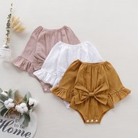 Australia US 6 Colors Baby Girl Rompers Jumpsuits Clothes Infant Ruffle Bowknot Toddle Summer Solid Newborn Boutique Cotton Climb Bodysuits Linen