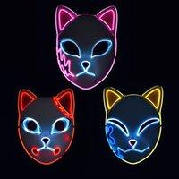 Demon Slayer Fox Mask Halloween Party Japanese Anime Cosplay Costume LED Festival Favor Props Face Light Masks