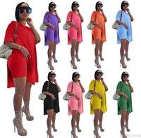 Sommer Frauen Trainingsanzüge Kurzarm T-Shirt + Shorts Massivfarbe 2 Stück Jogger Sets Yoga Outfits Fitnessstudio Plus Größe 1073