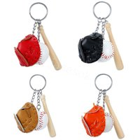 Baseball Ball Softball Keychains Key Ring Wooden Gloves Bat Bag Pendant Charm Chain Bags Pendants Gift DB781