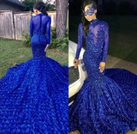 Royal Blue Black Girls Mermaid Long Prom Dresses 2020 Long Sleeves 3d Floral Skirt Lace Applique Beaded Formal Party Evening Gowns BC0749