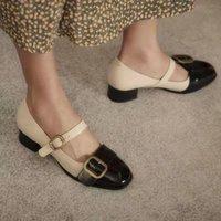 Dress Shoes Retro Mary Jane Women's Thick Heel Buckle Middle 2021 Versatile Temperament Fragrance Single Women Pumps