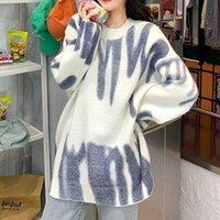 Печать вязаный свитер Женщины Элегантные Зеленые полосатые негабаритные Пуловеры Женщины Зимние Свободные Длинные Свитера Уличная Одежда Seher Mujer