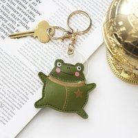 파일럿 창조적 인 성격 키 체인 펜던트 럭셔리 가죽 자동 개구리 열쇠 고리 귀여운 만화 가방 매달려 작은 선물 HWD9552