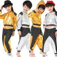 Filles garçons or argent salle de bal shirt jazz hip hop concurrence costume vêtements vêtements vêtements hotte chemise top pantalon danse usure