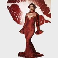 Casual Dresses Sexy Rhinestones Long Mermaid Dress Women Red Crystal Birthday Party Evening Trailing Wedding Bodycon Floor Length