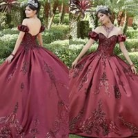 Burgundy Quinceanera Dresses 2022 with Sequins Applique Straps Lace up Back Sweetheart Neckline Floor Length Sleeveless Satin Prom Sweet 16 Ball Gown vestidos