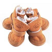 كلب الملابس الخريف / الشتاء أحذية الحيوانات الأليفة الأحذية الحماية الدافئة (الكاكي، م)