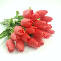 Decorative Flowers & Wreaths 10 Head Artificial Tulip Fake Tulips Flower Lifelike Wedding Home Party Decor 10pcs Leaves