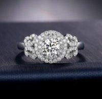 Victoria Wieck Yuvarlak Kesim Çarpıcı Takı 925 Ayar Gümüş Beyaz Safir Simüle Elmas Taşlar Düğün Band Çiçek Yüzük Boyutu 5-11