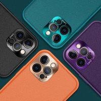 Чистый цвет PU кожа Chrome Camera Camera Чехлы для iPhone 12 11 PRO PROMAX X XS MAX 7 8 PLUS Чехол чехол