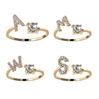 Cluster Rings A-Z Letter Gold Color Metal Adjustable Opening Ring Initials Name Alphabet Female Creative Finger Trendy Party Jewelry