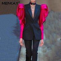 Kadın Takım Elbise Blazers [Menkay] 2021 Moda Blazer Kadınlar Gül Kol Suit Hırka Düğme İnce Kısa Ceket Ceket Kadın Sonbahar Ve Kış S