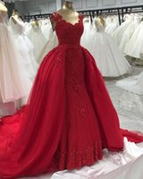 Dubai Long Evening Dresses 2021 Mermaid Style Sweetheart Lace African Women Red Tulle Formal Occasion Gowns Detachable Train Reception Wear Prom Dress