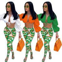 Tracksuit das Mulheres Dois Long Calça Set Lanterna Sleeve Drawstring Super-curto Blusa e Estética Imprimir Lápis Legging Streetwear Roupas Novo