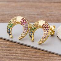 Stud 16 Stili Scelta Colorful Micro Pavy CZ Gold Gold Colore Arcobaleno Orecchini arcobaleno per le donne Ragazze Fashion Party Jewelry Regalo