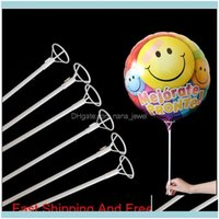 Evenement feestelijke benodigdheden home garden50pcs / lot 40 cm folie ballon witte PVC staven voor ballonnen houder sticks met beker partij decoratie Aessorie