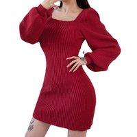 Otoño invierno nueva moda damas suéter vestido mujer kiddress color sólido collar de burbuja manga negro gris rojo albaricoque