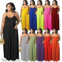 2021 جديد المرأة الصيف مصمم الأزياء بلون مثير عميق الخامس الحملة اللباس 11 ألوان حار بيع أكمام حبال الطابق طول تنورة الأزياء 802