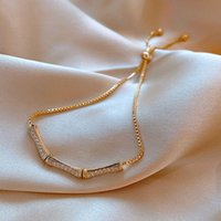 Link, Chain 2021 Trend Zircon Inlaid Goldon Metal Bamboo Bracelet Korean Fashion Lady Charm Bracelets Jewelry Party Classic Link