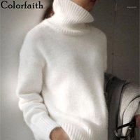 Colorfaith New 2020 Autumn Winter Women Sweater Turtleneck Pullovers Bottoming Fake Mink Cashmere Oversize Knitwears Tops SW11561
