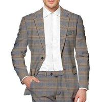 Men Plaid Business Leisure Suit Houndstooth Vintage Wedding Groom Dress Formal Dinner Party Tuxedo Office Set (Blazer+Pants) Men's Suits & B