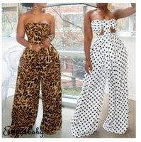 Women Holiday 2Pcs Co-ord Set Bandeau Crop Top+ Long Pants Summer Beach Sets Lady Sleeveless Wide Sunsuits