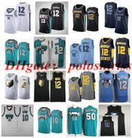 """Stitched Big Yards S-6XL Ja 12 Morant Memphis """"Grizzlies"""" Maglie da basket Green Bianco 10 Bibby 50 Reeves Jersey Fans Camicia Maglia NCAA Uomo Edition City"""