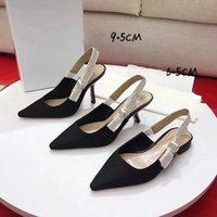 مصمم الصيف مأدبة اللباس أحذية كعب مسطح 6.5 سنتيمتر 9.5 سنتيمتر عالية الكعب مثير مضخات أشار تو الرظافة الظهر المرأة حذاء الحجم 35-41