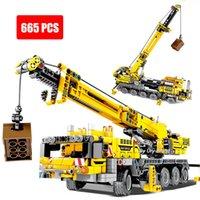Technical Series Yellow Mobile Crane Engineering Truck Model Set Dolls Building Blocks DIY Toys for Boys Birthday Gifts
