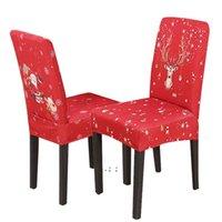 Weihnachtsstuhlabdeckung Polyester-Laron ELK-gedruckte Sitzbezüge Waschbare elastische Stuhlabdeckungen Home Hotel Bankett Party Decor OWF10545
