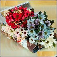 Flowers Wreaths Festive Party Supplies & Garden33Cm Silk Daisy Bride Artificial Bouquet 21 Flower Heads 9 Branches For Wedding Christmas Dec