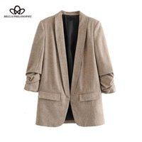 Bella Philosophie Frauen Chic Twill Blazer versammelte drei Viertelhülsen Taschen Büro Tragen Sie Mantel gekerbte Kragen Vintage Oberbekleidung