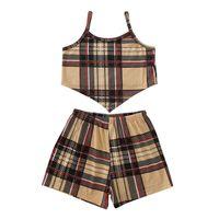 Girls Plaid Tanktops+Pants Set Outfits Summer 2021 Kids Boutique Clothing 1-6T Children Sleeveless 2 PC Fashion