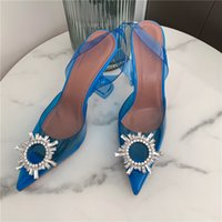 Casual Designer Sexy Lady Women Sandals Blue PVC Transparent Crystal Strass Pointy Toe Stiletto Slingback High Heels Sandalias Bride Wedding Shoes
