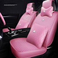 Special Women's Car seat cover For Toyota Most cars SUV PU Leather Universal Size 4 Color Auto Waterproof Interior Accessorie(Pink)