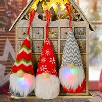 Christmas Gnome Lights Handmade Swedish Tomte Ornaments Santa Plush Doll Hanging Decoration Pendants GWA8706
